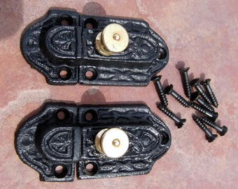 Pair Cast Iron and Brass Cabinet Turn Latchs