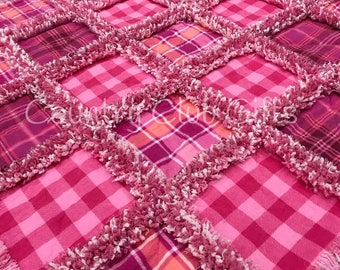 Baby rag quilt, Pink plaid baby blanket, baby gift,baby girl, baby shower gift,new baby gift, Pink rag quilt,crib bedding, Girl gift