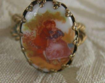 Vintage Porcelain Romantic Ring, German Porcelain Ring, Adjustable Ring
