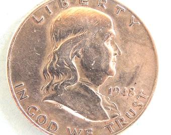 1948 Franklin Half Dollar, Silver Half Dollar, USA Coins, Silver Coins, Rare Coins, Collectible Coins