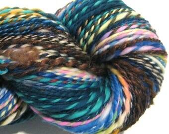 Handspun Yarn Waste Not Want Not F 280 yards rainbow yarn knitting supplies crochet supplies waldorf doll hair art yarn weaving supplies