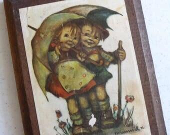 Vintage Hummel Plaque, Wall Hanging, Wooden Plaque, Collectible, Vintage Home Decor,Metal Hanger,Childrens Decor,Vintage Nursery,Collectible