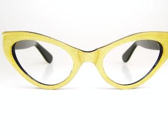 Vintage Yellow Cat Eye Glasses Frame France NOS