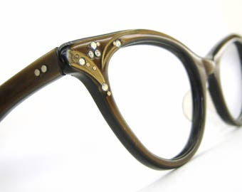 Vintage Satin Brown Cat Eye Glasses Eyeglasses Sunglasses B&L Frame