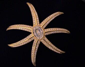 Huge Vintage Crystal Sea Star Starfish Brooch