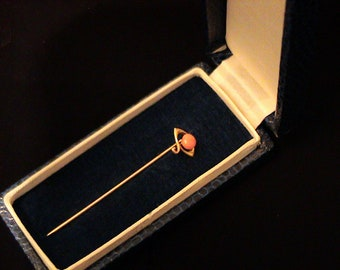 Antique Victorian 10K Gold Genuine Pink CORAL Stick Pin in Box