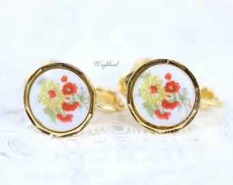 Yellow & Red Floral Japan Vintage Flowers Screw Back Earrings - 1 Pair