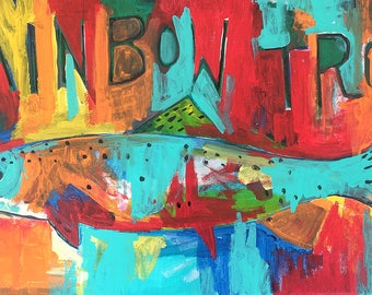 """Original Rainbow Trout painting on Canvas - Acrylic Painting 20"""" x 10"""""""