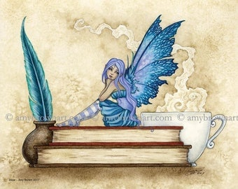 Bookworm fairy 8X10 PRINT by Amy Brown