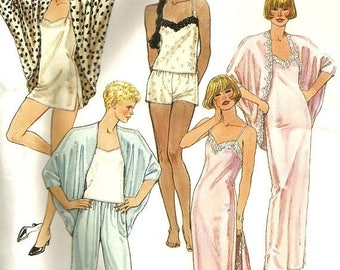 ChristmasinJuly Vintage 80s McCalls 4608 UNCUT Misses Lingerie-Camisole,Tap Pants, Nightgown or Slip and Coccon Robe Sewing Pattern