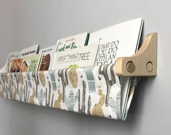 Book Sling and Wooden Brackets - Cactus Print Wall Organizer with brackets - Choose your size