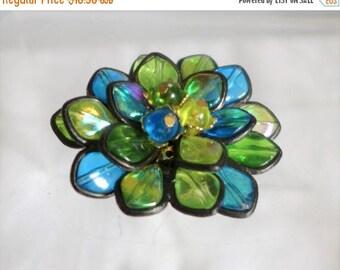 Sale 15% Iridescent Flower Brooch Teal Blue Green Yellow Floral Beautiful Hong Hong