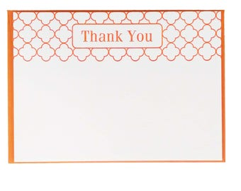Modern Letterpress Thank You Notes in Orange - 5 pack