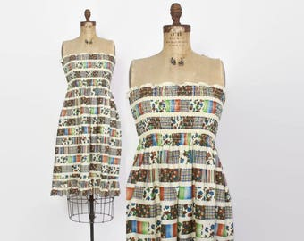 Vintage 70s STRAPLESS DRESS / 1970s Floral Patchwork Smocked Cotton Sun Dress S