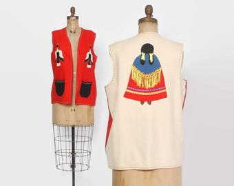 Vintage 60s Mexican VEST / 1960s Embroidered Wool Novelty Vest