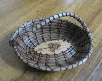 Wood Burnt Image of Pine Cones Pine Needle Basket