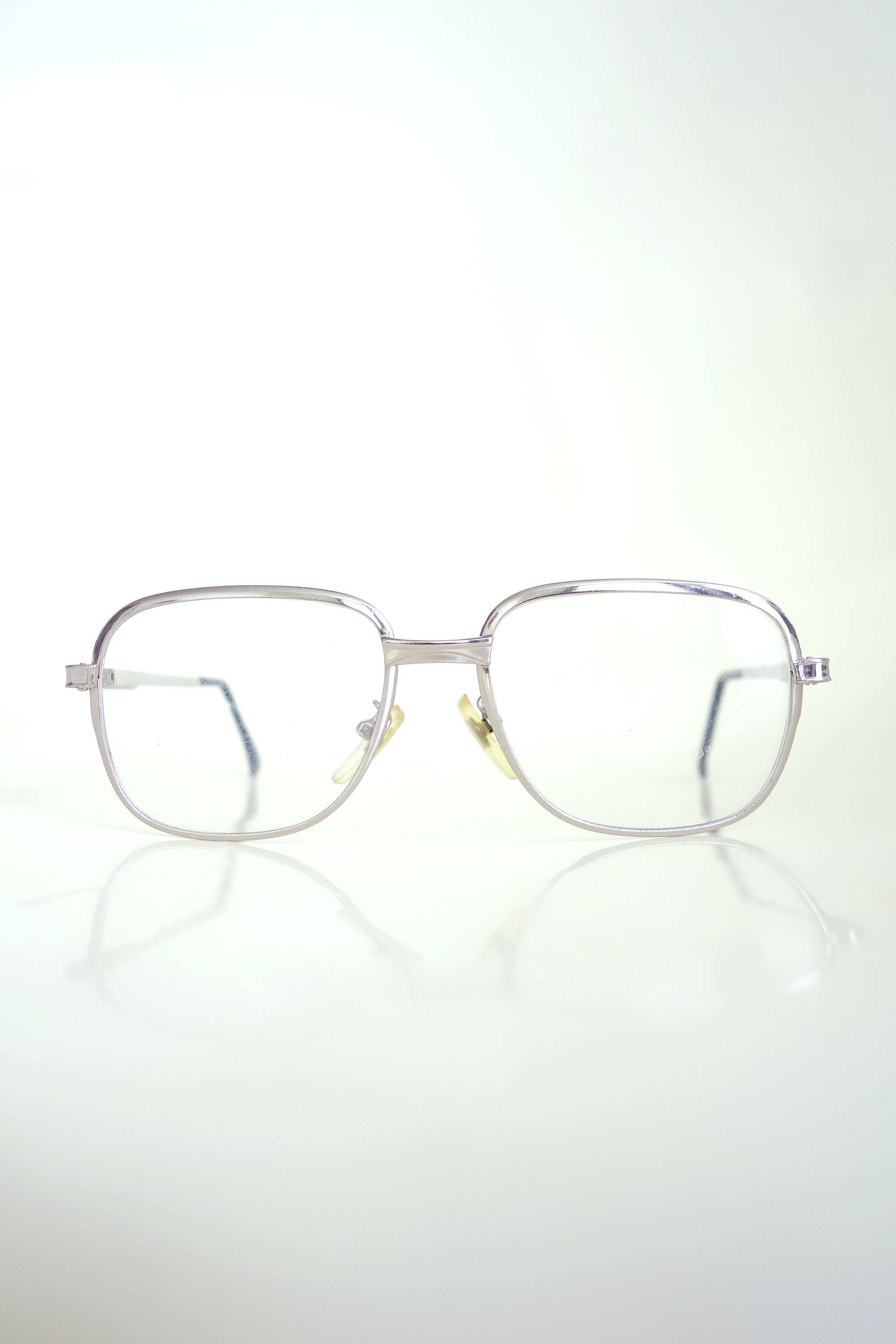 95a872cd922 1970s Mad Men Boxy Eyeglasses Mens Glasses 70s Metallic Silver Boxy Geek  Chic Nerdy Hipster Indie