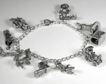 Antique Sterling Charm Bracelet, Vintage Silver Charm Bracelet, Antique Sterling Silver Charms