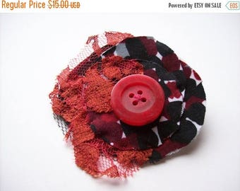 On Sale Brooch. Fabric layered brooch. Red lace, spotty fabric. Pin back brooch. Red button.