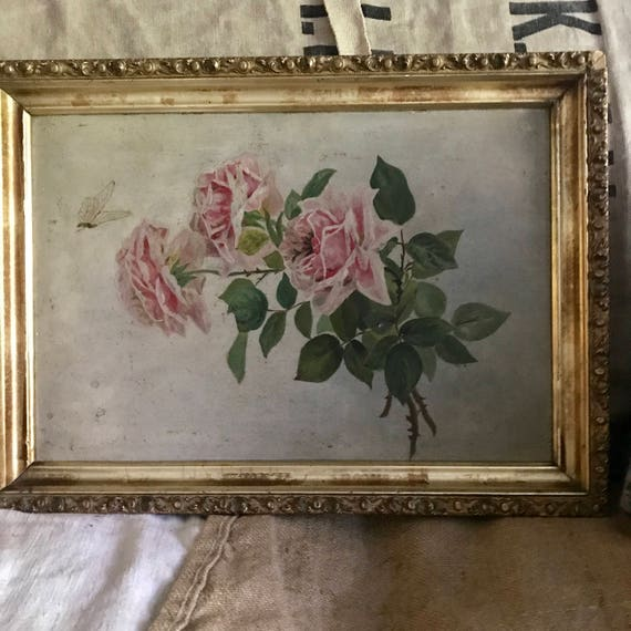 Oil Painting Roses, framed, French Cottage