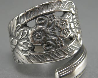 RING, STERLING SILVER, Handmade From Sterling Silver Spoon, Elegant, Depicts scroll and floral design, Will Size 8 to 10, High Polished .