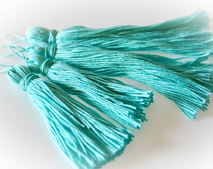 """Pair of Cotton Boho Tassels in """"Mermaid Blue."""" Choice of Four or Six Inches. Jewelry Supply. Crafting Supply. Bohemian Blues."""