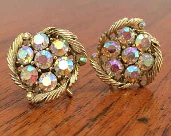 Vintage Lisner Earrings Gold Tone with Aurora Borealis Rhinestones, Lisner costume earrings, Lisner jewelry, vintage screw back earrings