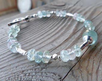 High Quality Aquamarine with Sterling Silver and Fine Silver Birthstone Gemstone Bracelet