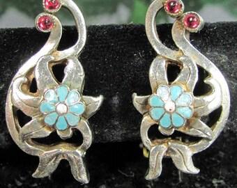 Vintage STERLING ENAMEL FLOWER Earrings Turquoise Red Poss. Czech Floral Clip On