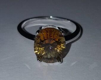 Sterling Silver Yellow Topaz Gemstone Ring Size 7