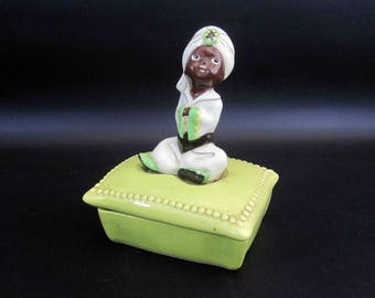 Vintage Lidded Butter or Trinket Dish with Indian Boy Atop Pillow. Circa 1950's.