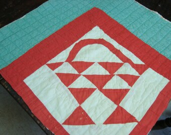 Antique 1920 Red And White Basket Quilt Piece