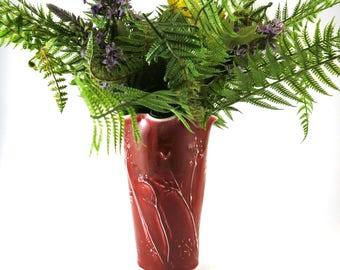 Pottery Vase, Flower Vase, Decorative Vase, Handmade Vase, Organic Pottery, Ruby Red, Ceramic Vase,  Home Decor, Gardeners Gift, 375