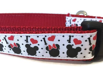 Dog Collar, Minnie Mickey Mouse,  1 inch wide, adjustable 18-26 inches, quick release
