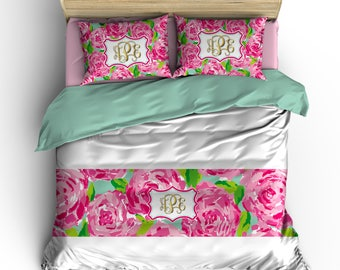 Custom Romantic  Rose Bed Runner/Scarf -Pink Green and Aqua Designer Floral Design- All Bedding Sizes