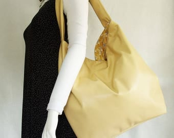 Butter Yellow Faux Leather Handbag, extra large yellow slouch hobo shoulder bag, soft buttery yellow handbag with kitty cat print interior
