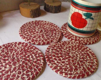 Red and Tan Coiled Fabric Coasters - Set of 4 Absorbent Coasters Handmade by Me