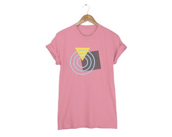 Geo Memphis Radar Tee - Boyfriend Fit Crew Neck Cotton Tshirt with Rolled Cuffs in Mauve and Multi Colors - Women's Size S-5XL