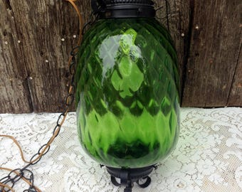 Vintage Green Glass Swag Hanging Lamp Mid Century