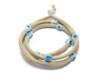Beige Evil eye lucky string wrap bracelet - white evil eye beads - Stainless steel -Friendship bracelet
