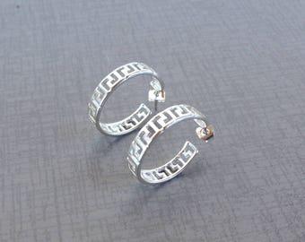 Greek key motif hoop earrings in sterling silver - Greek jewelry - Meander Earrings - Greek earring - Greek antiquity Jewelry -