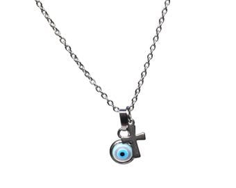 Evil eye necklace & cross - mother of pearl - handmade jewelry - stainless steel - protection - Greek jewelry - Gift for her - tiny necklace