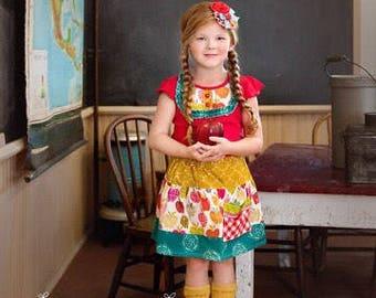 Girls Apple Skirt and shirt set, apple picking outfit, fall skirt, back to school outfit, apple shirt, autumn skirt set,by Melon Monkeys