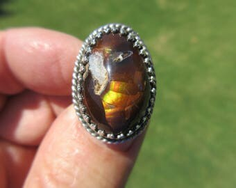 ENCHANTING EXTRA from ENSENADA - Sterling Silver Mexican Fire Agate Ring - Size 8 - Free Resizing