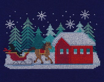 WINTER SLEIGH Cross-Stitch Embroidery on Ladies' Tee or Sweat by Rosemary