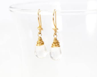 Crystal Quartz Wire Wrapped Dangle Earrings, Clear Quartz Earrings, Crystal Quartz Drop Earrings, Gold Quartz Earrings, Gold Fill Earrings