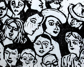 Faces in the Crowd, a lino print in black and white, wall decor