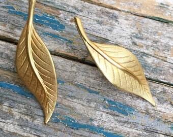 Leaf Earrings Gold Leaf Stud Earrings Autumn Leaf Jewelry Gift for Her Bridesmaid Earrings Woodland Wedding Leaf Post Earrings