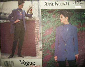 Vogue 2777 Vintage Jacket and Pants by Designer Anne Klein II Copyright 1991 Size 8-10  USED