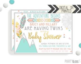 Boho Twins Baby Shower Invitation | Digital or Printed | Twins Baby Shower | Twins Invitation | The Adventure Begins | Twins Shower Invite